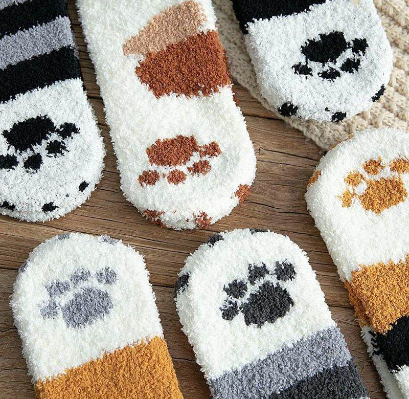 Teplé ponožky / kočičí ponožky, 1 pár – 6 barev