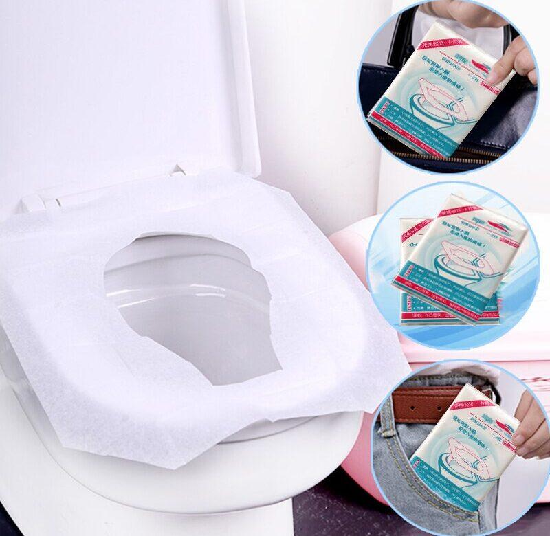 Cestovní podložka na WC / potah na záchodové prkénko, 10 ks