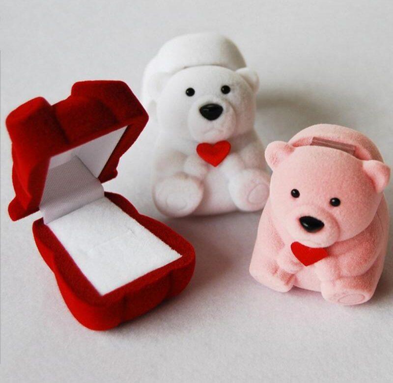 Dárková krabička na náušnice / krabička na prstýnek, styl medvídek – 3 barvy